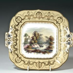 ANTIQUE MINTON PORCELAIN PLATE PAINTED LANDSCAPE