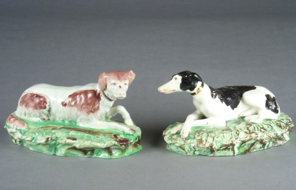 ANTIQUE STAFFORDSHIRE PEARLWARE FIGURES OF DOGS