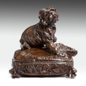 PROSPER LE COURTIER ANTIQUE BRONZE DOG ON CUSHION