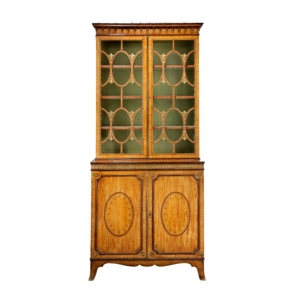 ANTIQUE GEORGE III SIMULATED SATINWOOD BOOKCASE ON CABINET