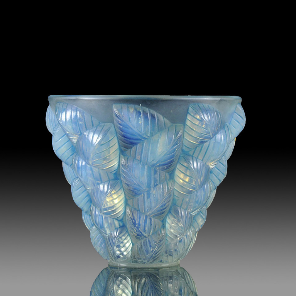 The Deco Haus Tagged Blue: ANTIQUE RENE LALIQUE MOISSAC VASE