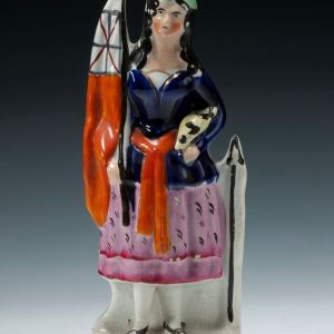 ANTIQUE STAFFORDSHIRE CRIMEAN FIGURE OF A WOMAN AND FLAG