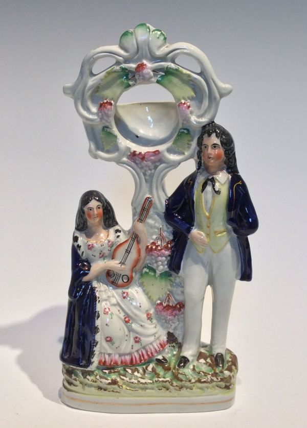 ANTIQUE STAFFORDSHIRE FIGURE OF A FOB WATCH HOLDER
