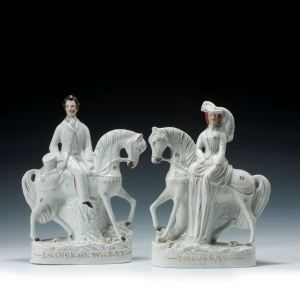 ANTIQUE STAFFORDSHIRE FIGURES OF PRINCE AND PRINCESS OF WALES