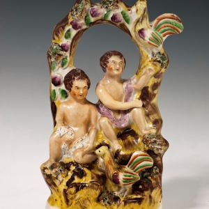 ANTIQUE STAFFORDSHIRE FIGURE OF CHERUBS