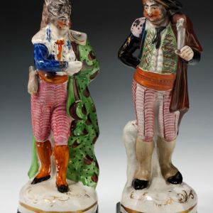 ANTIQUE STAFFORDSHIRE THEATRICAL FIGURES IN SPANISH CLOTHING