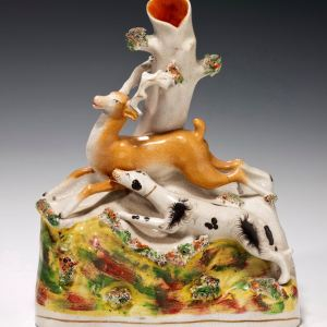 ANTIQUE STAFFORDSHIRE FIGURE OF A HUNTING GROUP