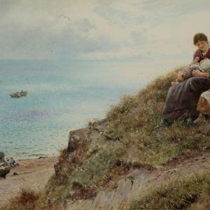 THOMAS JAMES LLOYD WATERCOLOUR FISHERMEN COASTAL LANDSCAPE