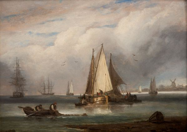 THOMAS LUNY-OIL PAINTING-DUTCH FISHING BOATS