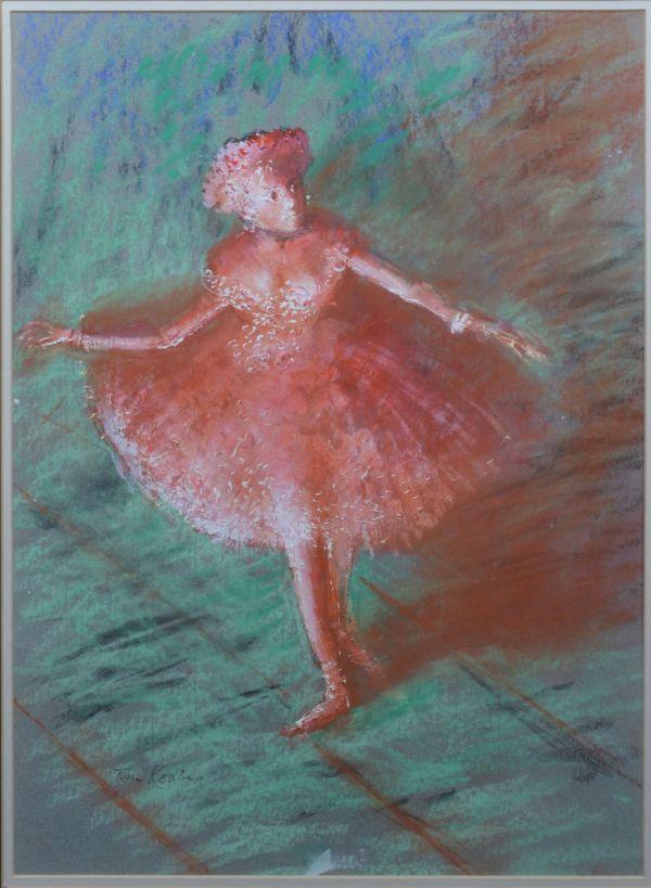 TOM KEATING PASTEL BALLET DANCER EDGAR DEGAS