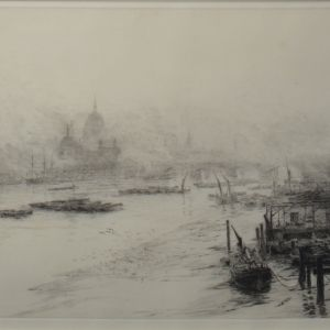 WILLIAM LIONEL WYLLIE-ETCHING-ST PAULS FROM WATERLOO