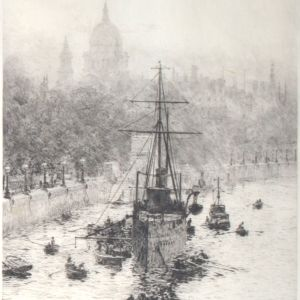 WILLIAM LIONEL WYLLIE - ETCHING - HMS PRESIDENT WITH ST PAULS