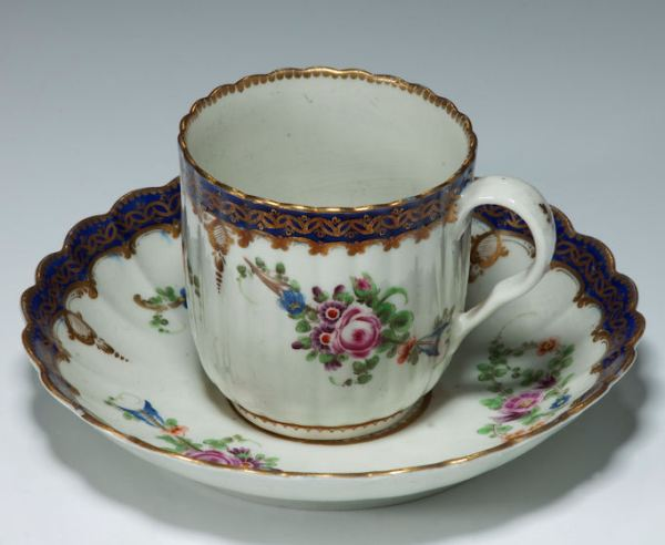 ANTIQUE WORCESTER COFFEE CUP AND SAUCER