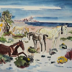 YVES BRAYER WATERCOLOUR CAMARGUE HORSES