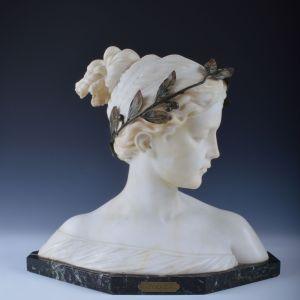 ANTIQUE MARBLE AND GILT BRONZE MOUNTED BUST POESIE
