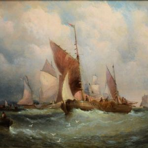 WILLIAM THORNLEY-OIL PAINTING-FISHING BOATS