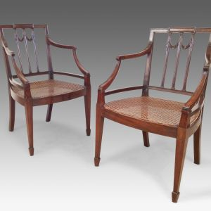 ANTIQUE PAIR OF GEORGE III MAHOGANY ARMCHAIRS