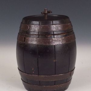 ANTIQUE BARREL SHAPED TEA CADDY