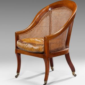 ANTIQUE MAHOGANY & CANE BERGERE CHAIR
