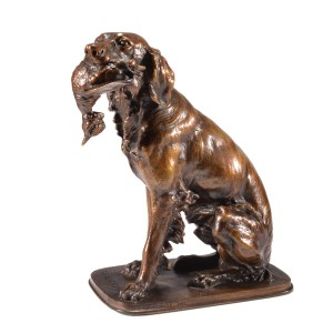 FERDINAND PAUTROT ANTIQUE BRONZE SETTER WITH GAME BIRD