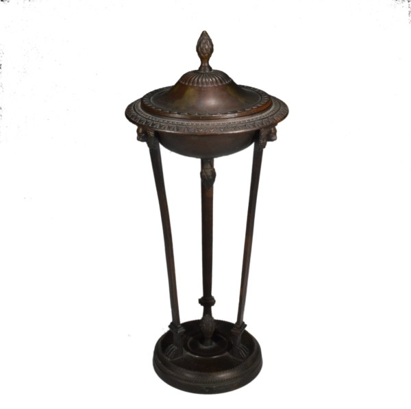 ANTIQUE PATINATED BRONZE CLASSICAL LIDDED URN