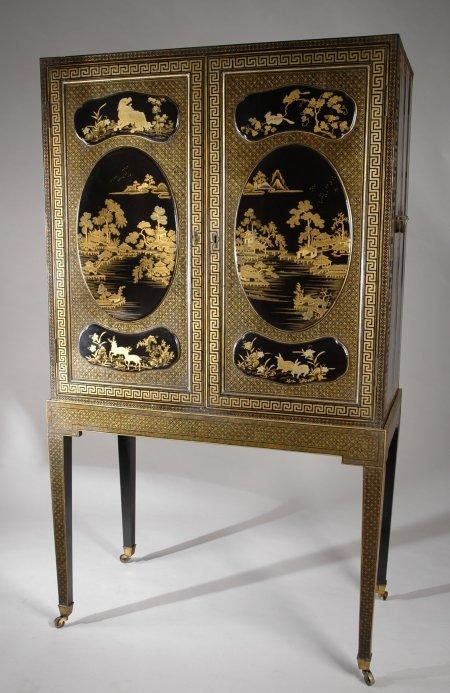 Regency Anglo Chinese Black Lacquered, Antique Chinese Furniture Uk