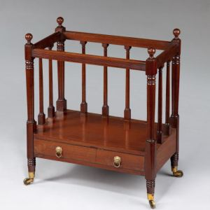 ANTIQUE GEORGE III OPEN FRONTED MAHOGANY CANTERBURY