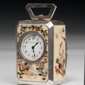 ANTIQUE SILVER, IVORY & SHIBAYAMA CARRIAGE CLOCK
