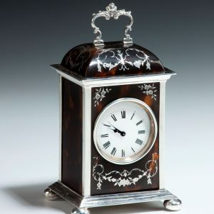 ANTIQUE DOME TOP TORTOISESHELL & SILVER CARRIAGE CLOCK