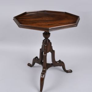 ANTIQUE CHIPPENDALE PERIOD OCTAGONAL MAHOGANY SIDE TABLE