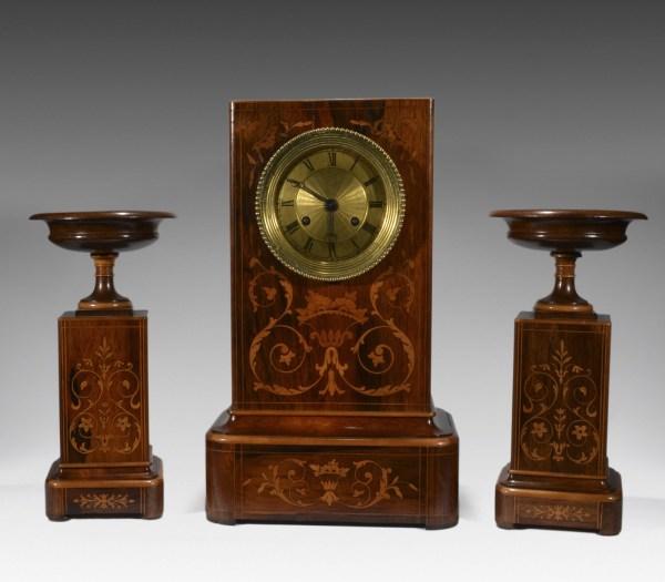FRENCH ROSEWOOD CLOCK SET GARNITURE