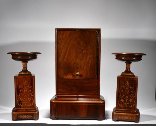 antique-clock-set-garniture-French-rosewood-inlaid-tazzas-1_6358
