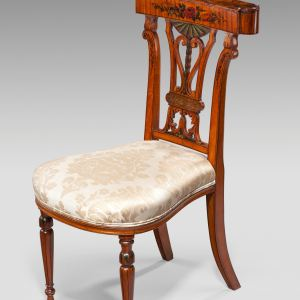 ANTIQUE SHERATON REVIVAL PAINTED SATINWOOD CONVERSATION OR GAMING CHAIR