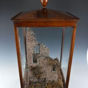 RARE ANTIQUE CORK MODEL OF CORNISH TIN MINE ENGINE HOUSE