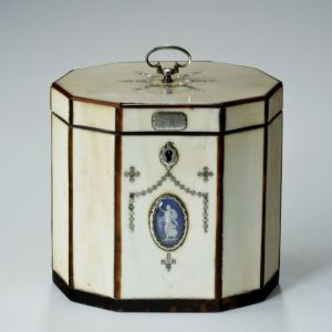 ANTIQUE DECAGONAL IVORY TEA CADDY WITH WEDGWOOD PLAQUE