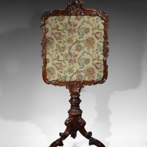 ANTIQUE 19TH CENTURY ROSEWOOD POLE OR FIRE SCREEN