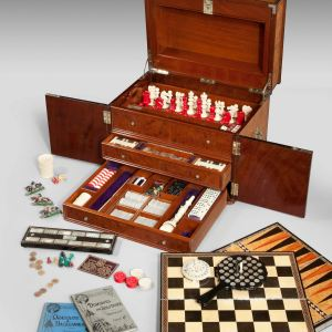 ANTIQUE LATE 19TH CENTURY WALNUT GAMES COMPENDIUM