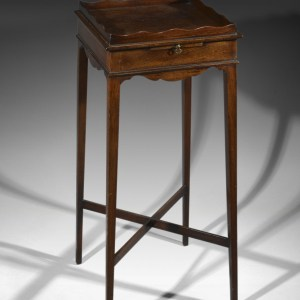 ANTIQUE MAHOGANY URN STAND WITH CUP SLIDE