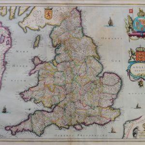 ANTIQUE FRAMED JAN JANSSON - MAP OF ENGLAND