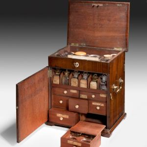 ANTIQUE MAHOGANY DUKE OF YORK MEDICINE CABINET