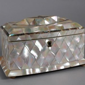 ANTIQUE BOW FRONTED MOTHER OF PEARL TEA CADDY