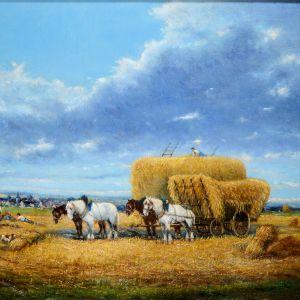 AUGUSTE SEBASTIN BENARD OIL PAINTING HAYMAKING FARM