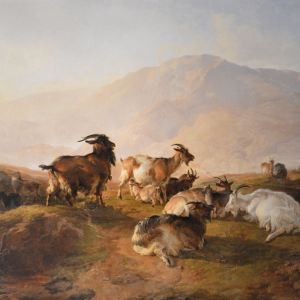 THOMAS SIDNEY COOPER RA OIL PAINTING GOATS SHEEP CATTLE