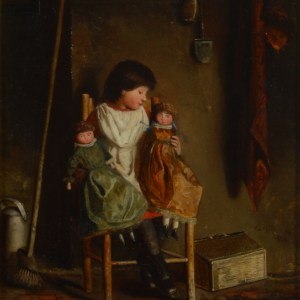 EDWARD HOLLIDAY OIL PAINTING CHILDREN DOLLS