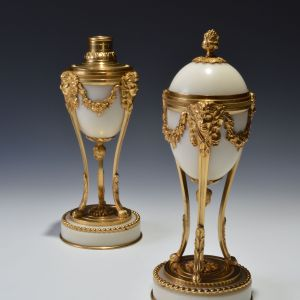 ANTIQUE PAIR OF FRENCH GILT BRONZE AND MARBLE CASSOLETTES