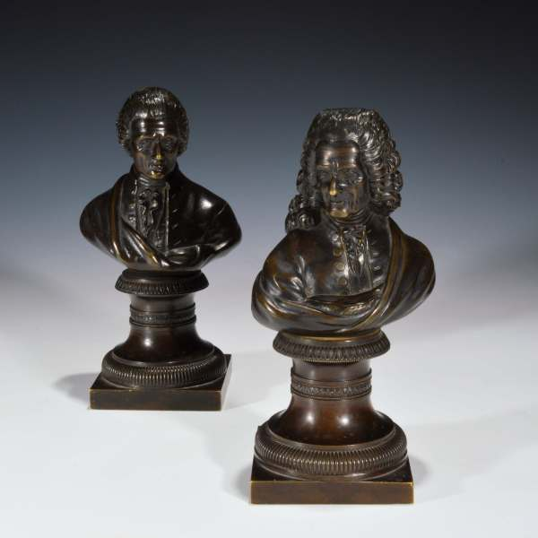ANTIQUE PAIR OF BUSTS OF THE FRENCH PHILOSOPHERS ROUSSEAU AND VOLTAIRE