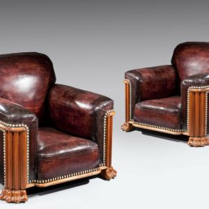 ANTIQUE PAIR OF ART DECO LEATHER CLUB ARMCHAIRS