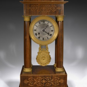 ANTIQUE FRENCH EMPIRE STRIKING PORTICO CLOCK