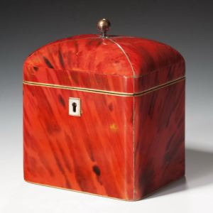 ANTIQUE DOMED TOP RED TORTOISESHELL TEA CADDY