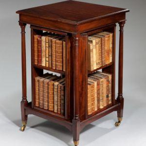 ANTIQUE VICTORIAN MAHOGANY REVOLVING BOOKCASE